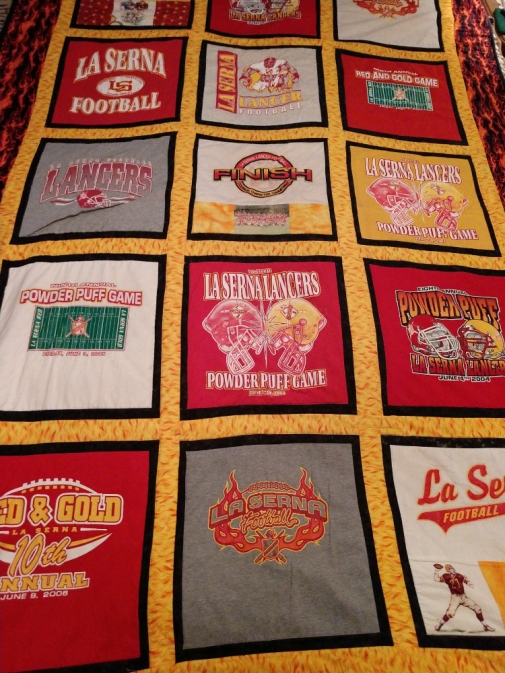 The quilt given to Ken by Tracy Fish is one of his most prized possessions
