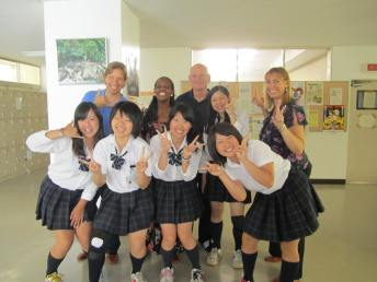 Having fun with high school students in Japan