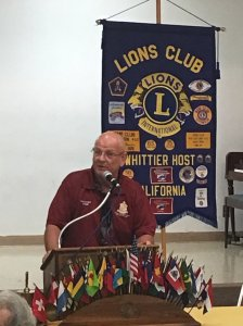 Ken speaking at a Whittier Host Lions Club Meeting